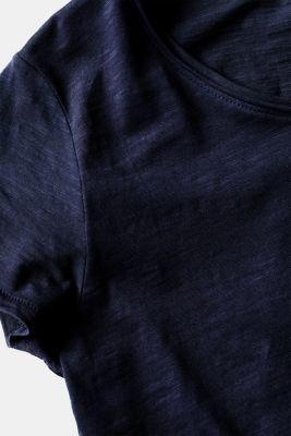 Lightweight slub T-shirt in 100% cotton, NAVY, detail