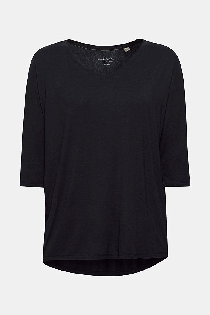 Stretch T-shirt with a V-neckline, BLACK, detail image number 0