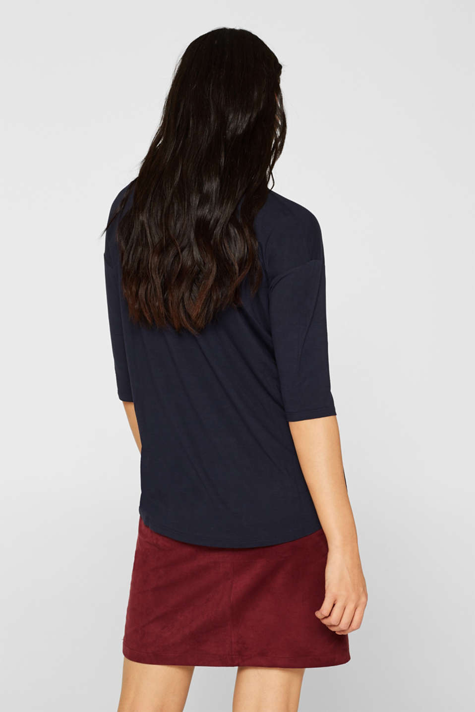 Stretch T-shirt with a V-neckline, NAVY, detail image number 3