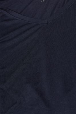 Stretch T-shirt with a V-neckline, NAVY, detail
