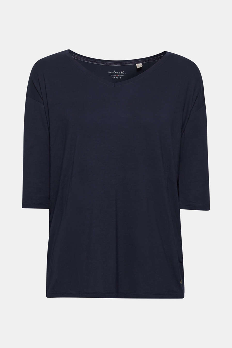 Stretch T-shirt with a V-neckline, NAVY, detail image number 6