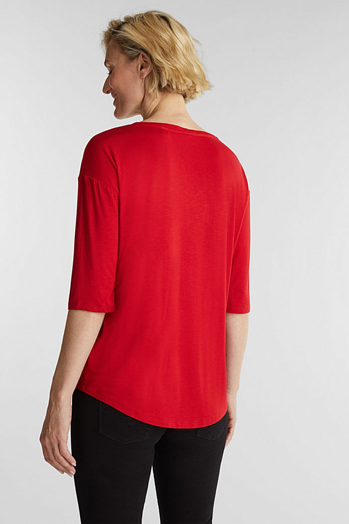 Stretch T-shirt with a V-neckline, DARK RED, detail image number 3