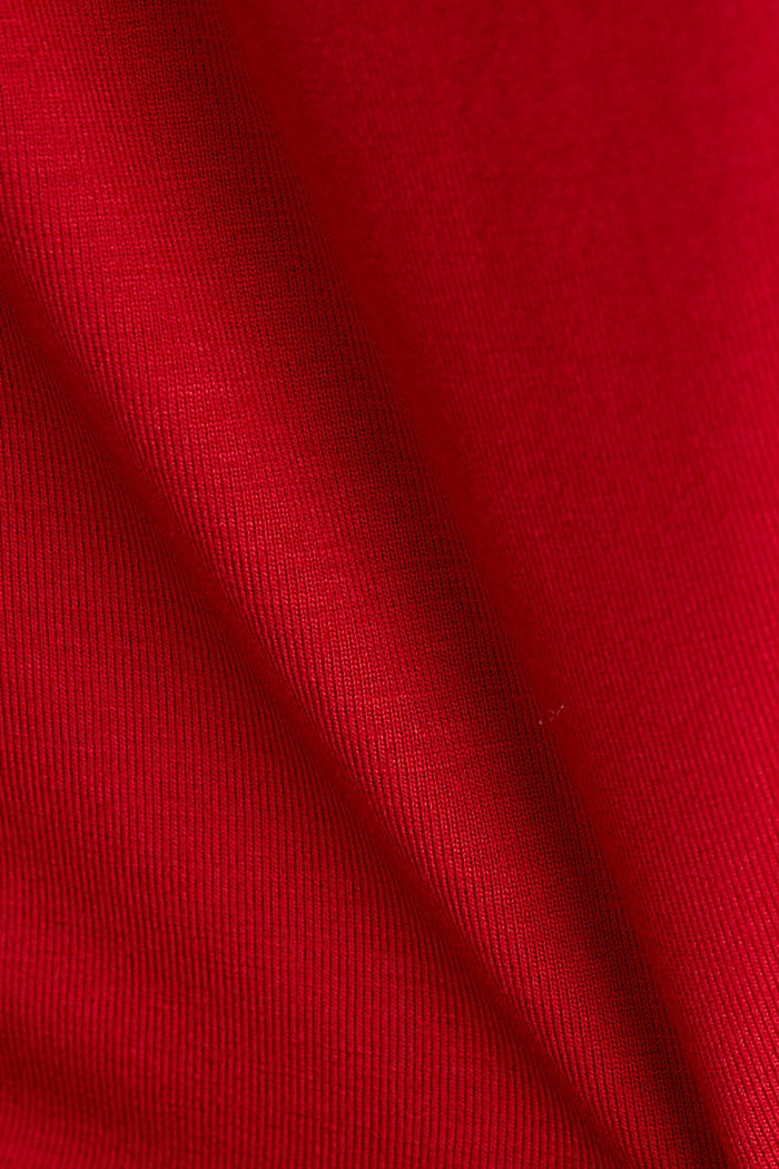 Stretch T-shirt with a V-neckline, DARK RED, detail image number 4