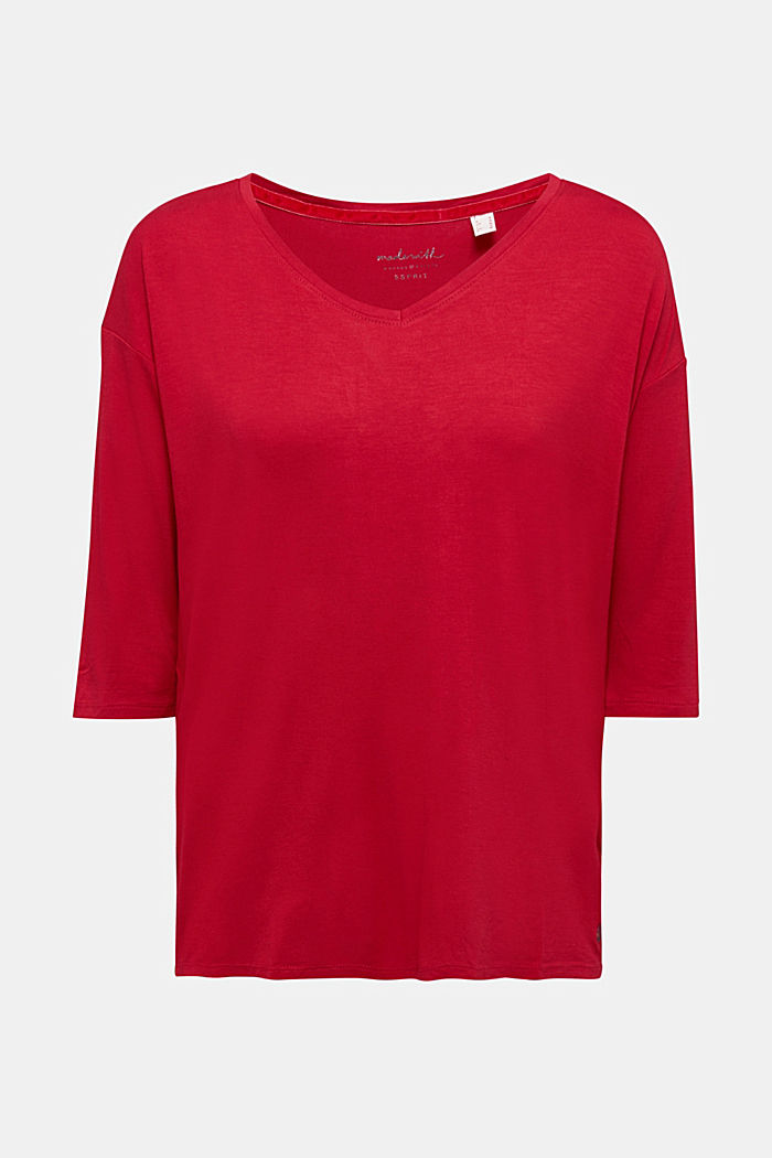 Stretch T-shirt with a V-neckline, DARK RED, detail image number 7