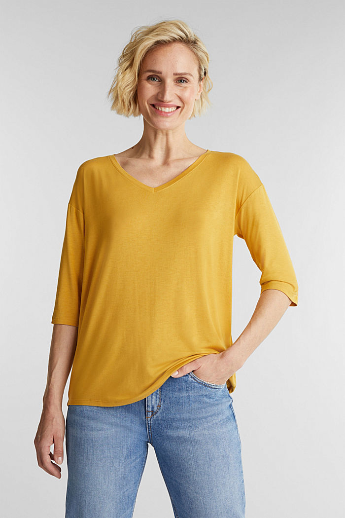 Stretch T-shirt with a V-neckline, HONEY YELLOW, detail image number 0