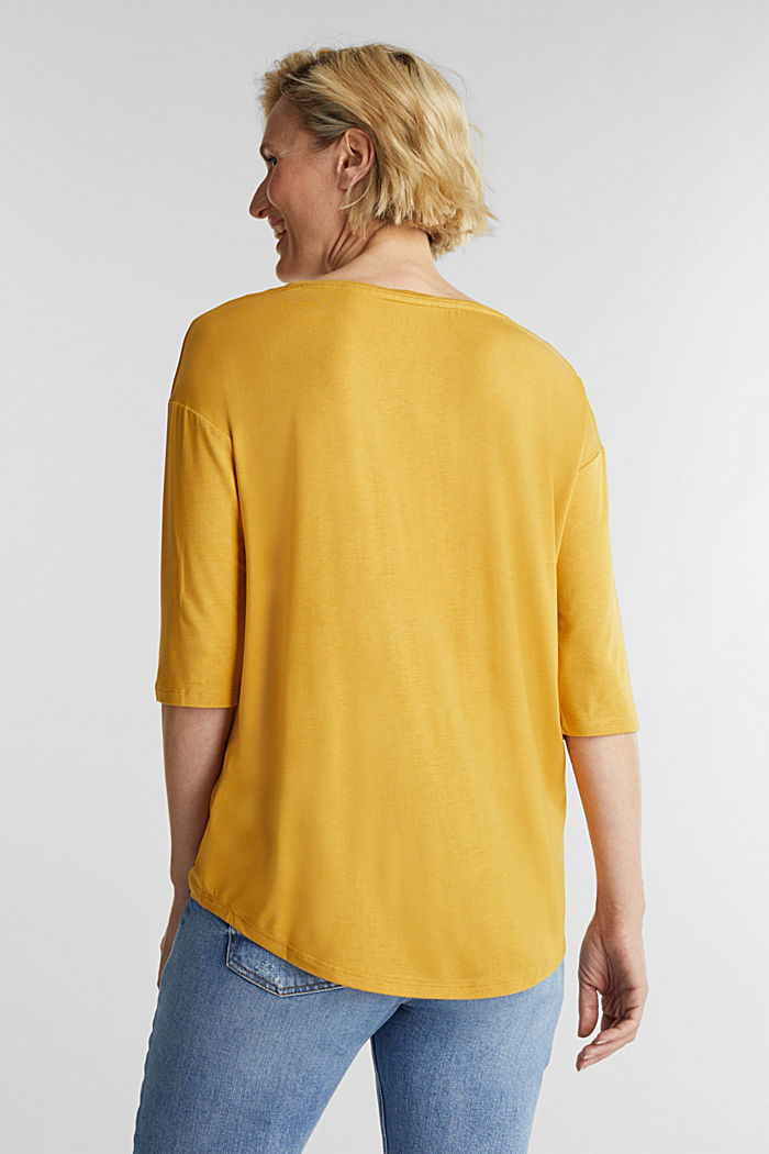 Stretch T-shirt with a V-neckline, HONEY YELLOW, detail image number 3