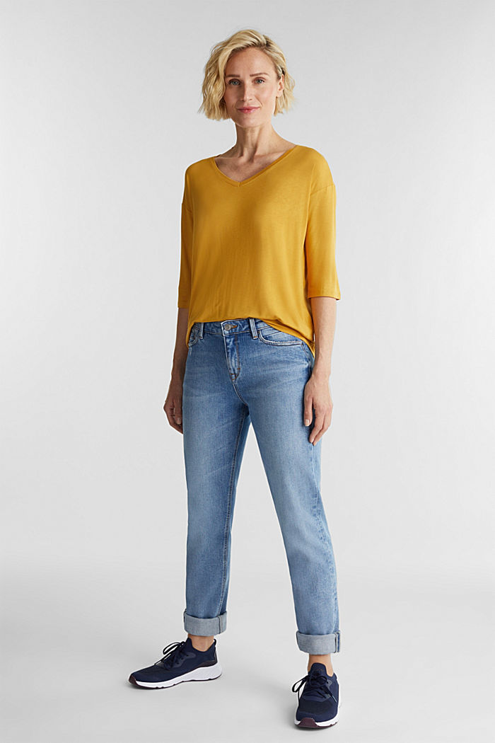 Stretch T-shirt with a V-neckline, HONEY YELLOW, detail image number 1