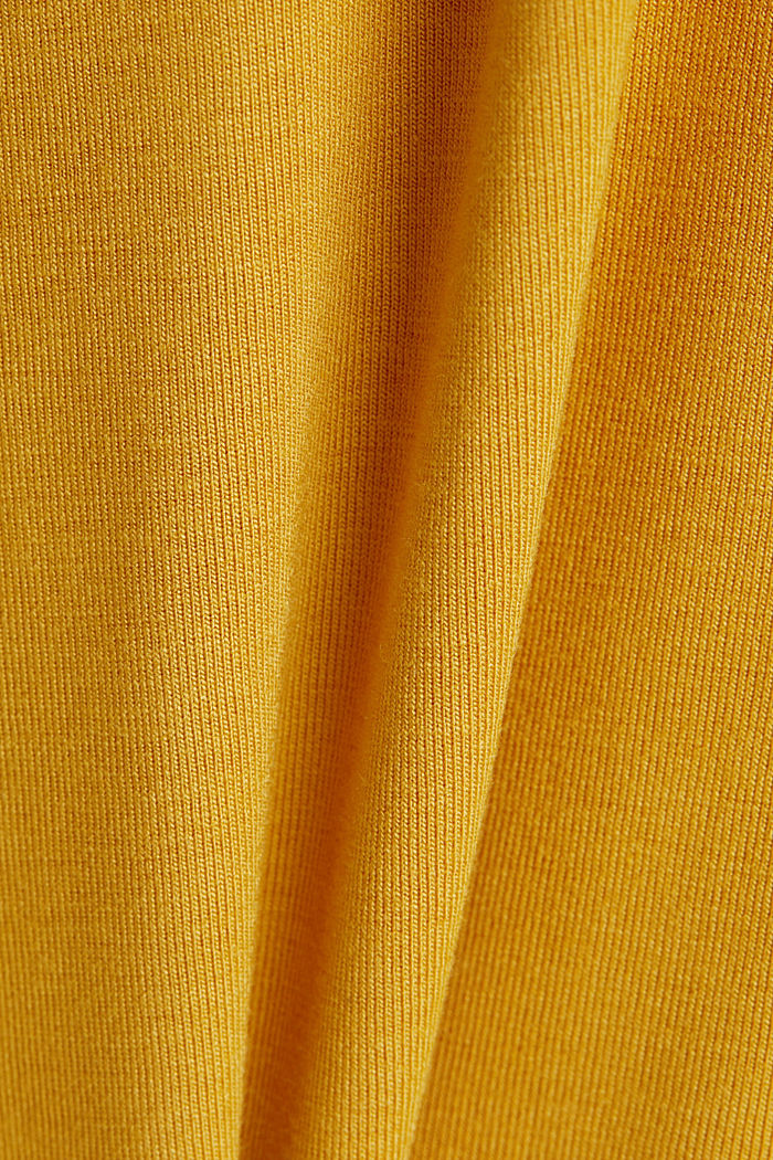 Stretch T-shirt with a V-neckline, HONEY YELLOW, detail image number 4