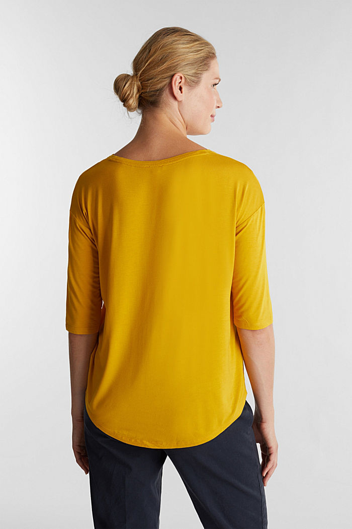 Stretch T-shirt with a V-neckline, BRASS YELLOW, detail image number 3
