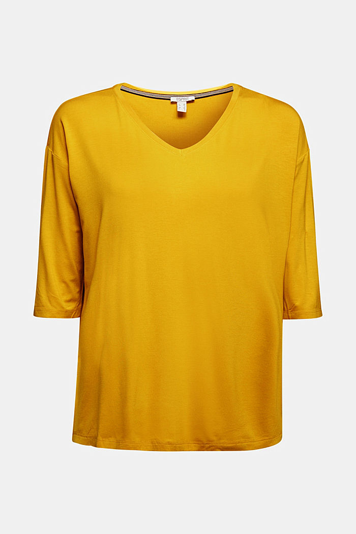 Stretch T-shirt with a V-neckline, BRASS YELLOW, detail image number 5