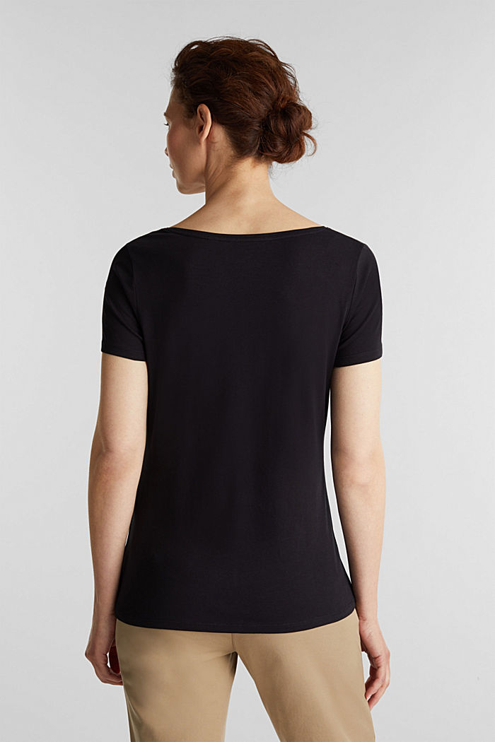 Basic shirt van katoen met stretch, BLACK, detail image number 3