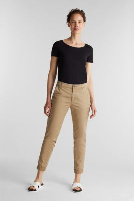 Basic, stretch cotton T-shirt, BLACK, detail