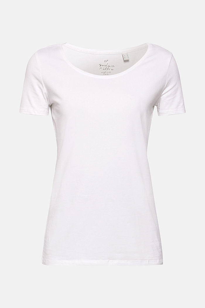 Basic, stretch cotton T-shirt, WHITE, detail image number 0