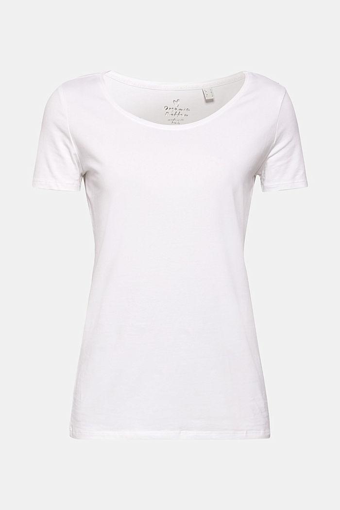 Basic-Shirt aus Baumwoll-Stretch, WHITE, detail image number 0