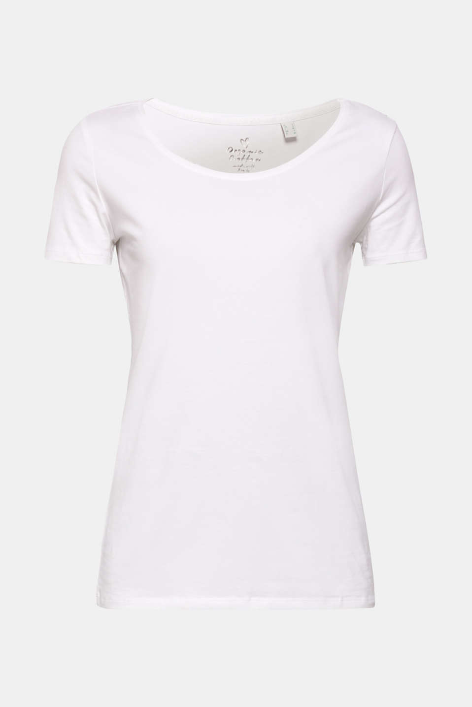 Basic, stretch cotton T-shirt, WHITE, detail image number 5