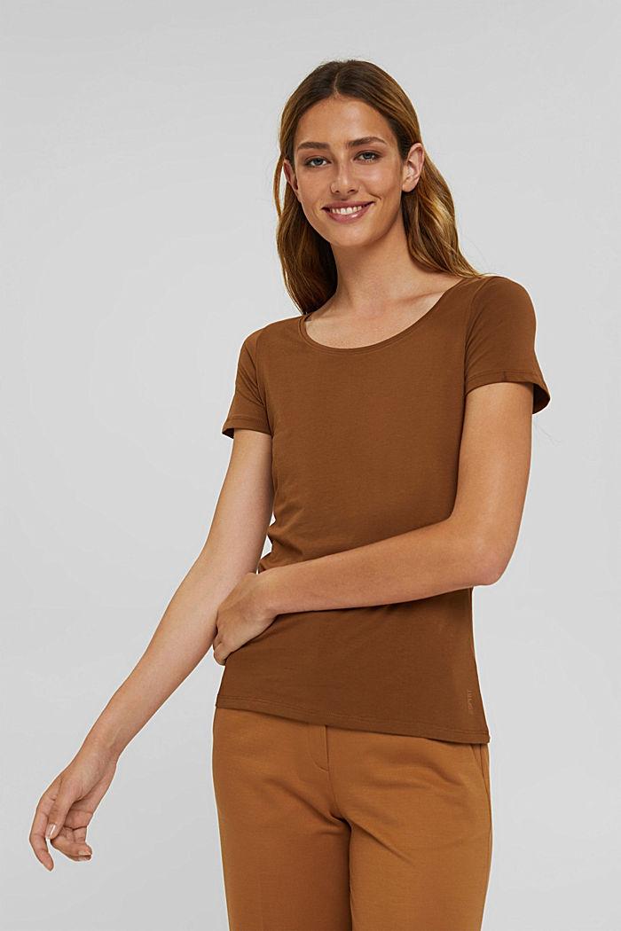 Rundhals-T-Shirt aus Bio-Baumwolle/Stretch, TOFFEE, detail image number 0
