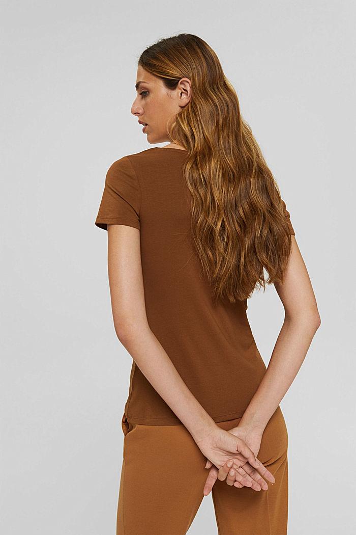Rundhals-T-Shirt aus Bio-Baumwolle/Stretch, TOFFEE, detail image number 3