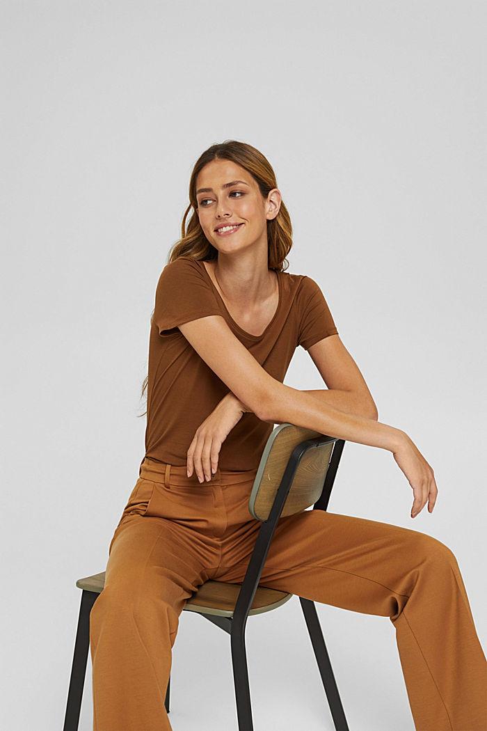 Rundhals-T-Shirt aus Bio-Baumwolle/Stretch