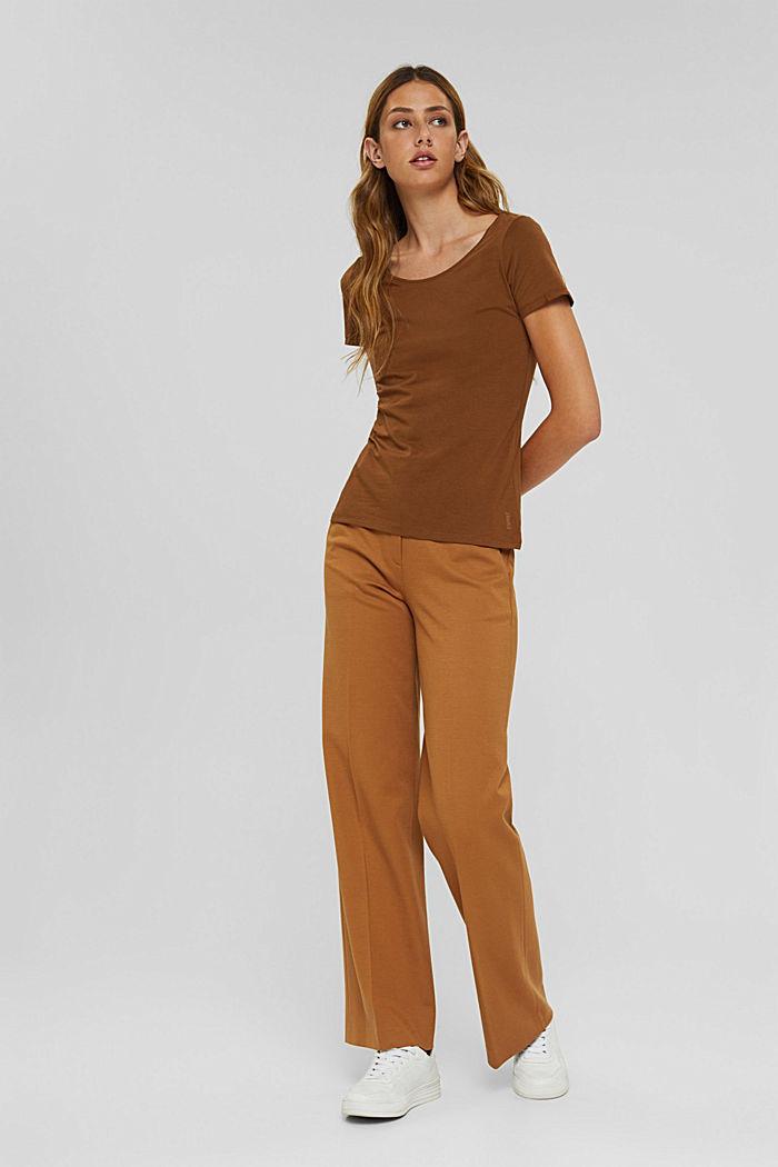 Rundhals-T-Shirt aus Bio-Baumwolle/Stretch, TOFFEE, detail image number 1