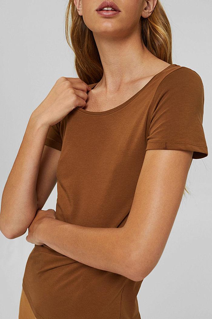 Rundhals-T-Shirt aus Bio-Baumwolle/Stretch, TOFFEE, detail image number 2