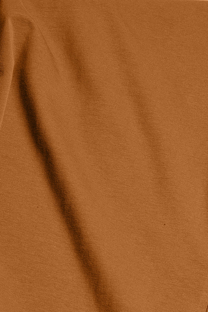 Rundhals-T-Shirt aus Bio-Baumwolle/Stretch, TOFFEE, detail image number 4