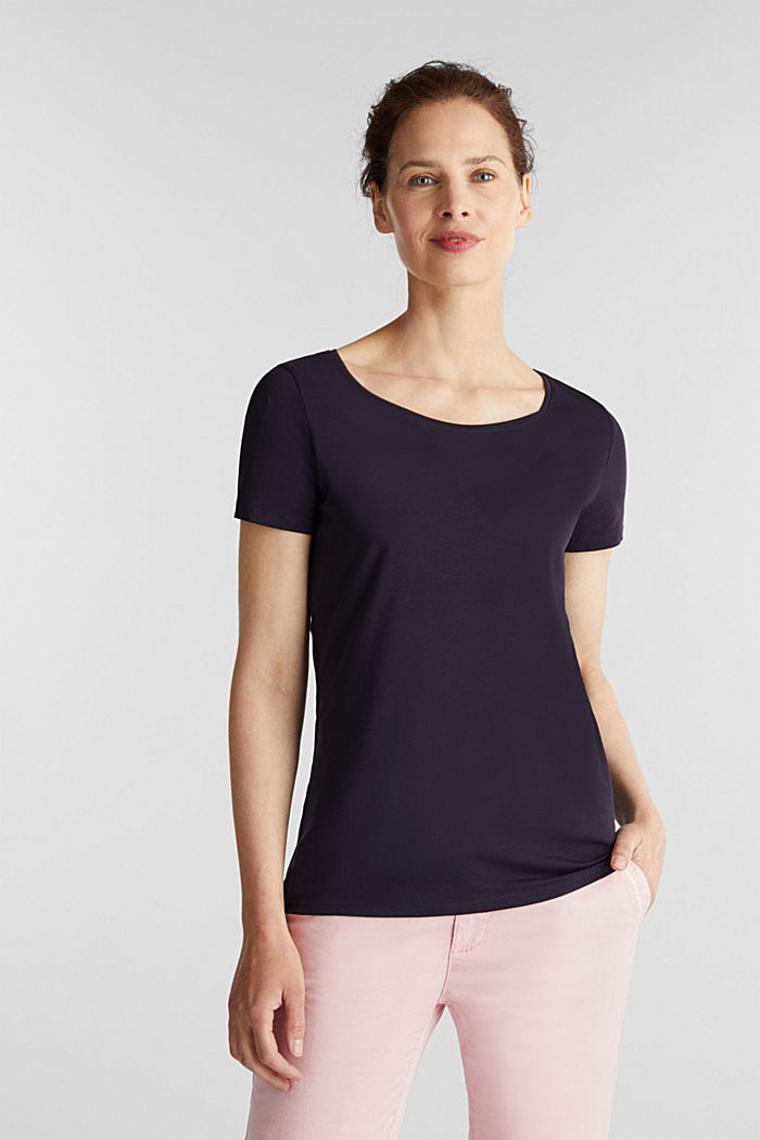 Basic, stretch cotton T-shirt, NAVY, detail image number 0