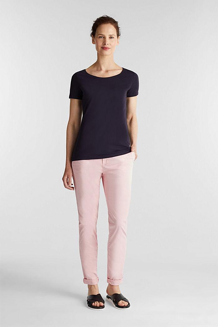 Basic-Shirt aus Baumwoll-Stretch, NAVY, detail image number 1