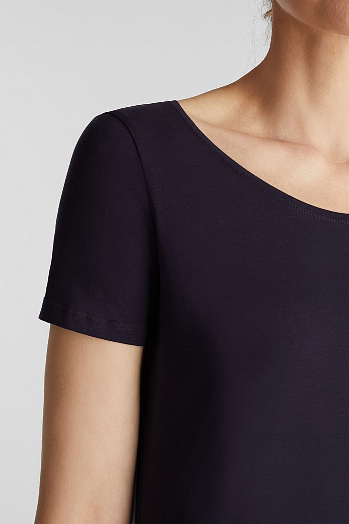 Basic-Shirt aus Baumwoll-Stretch, NAVY, detail image number 2