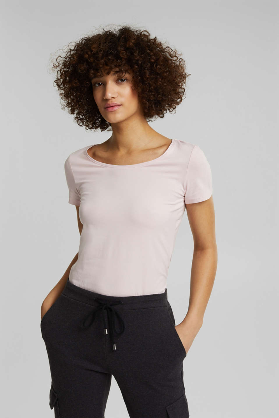 Esprit - Basic-Shirt aus Baumwoll-Stretch