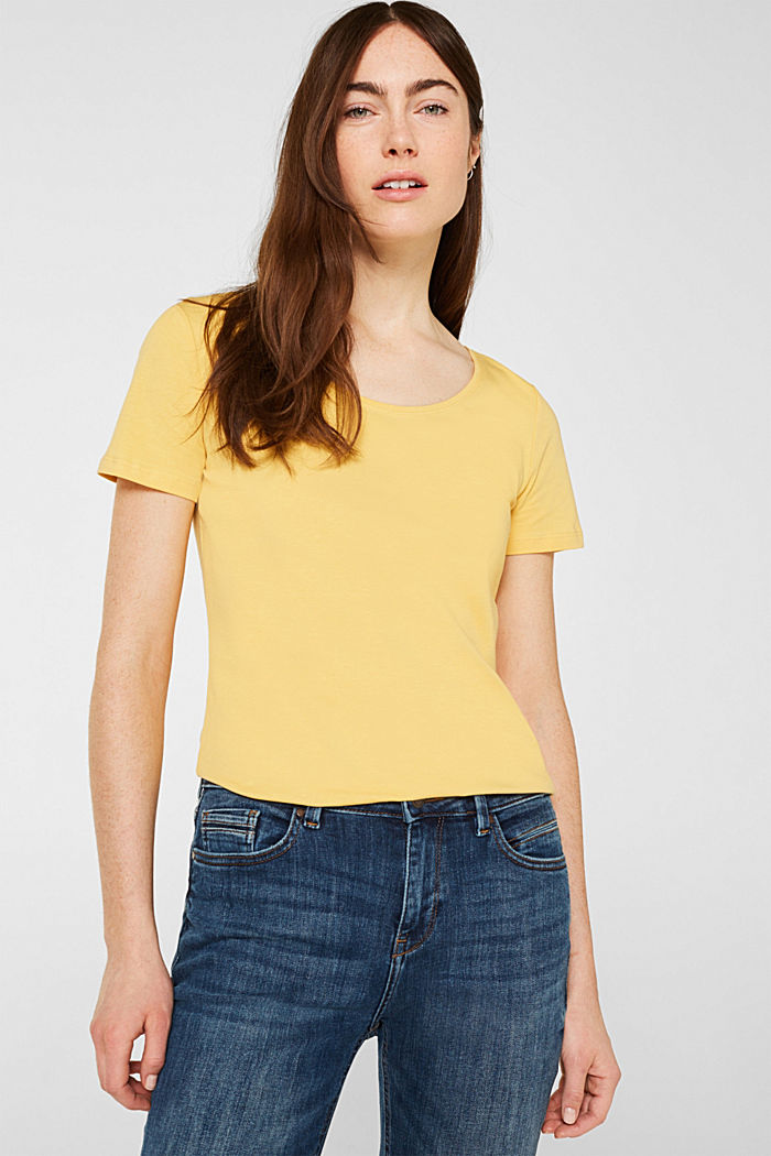 Basic shirt van katoen met stretch, YELLOW, detail image number 0