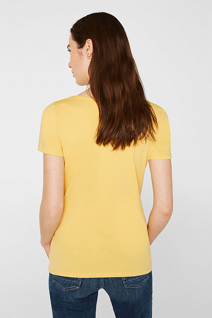Basic shirt van katoen met stretch, YELLOW, detail image number 3