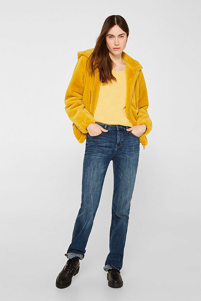 Basic shirt van katoen met stretch, YELLOW, detail image number 1