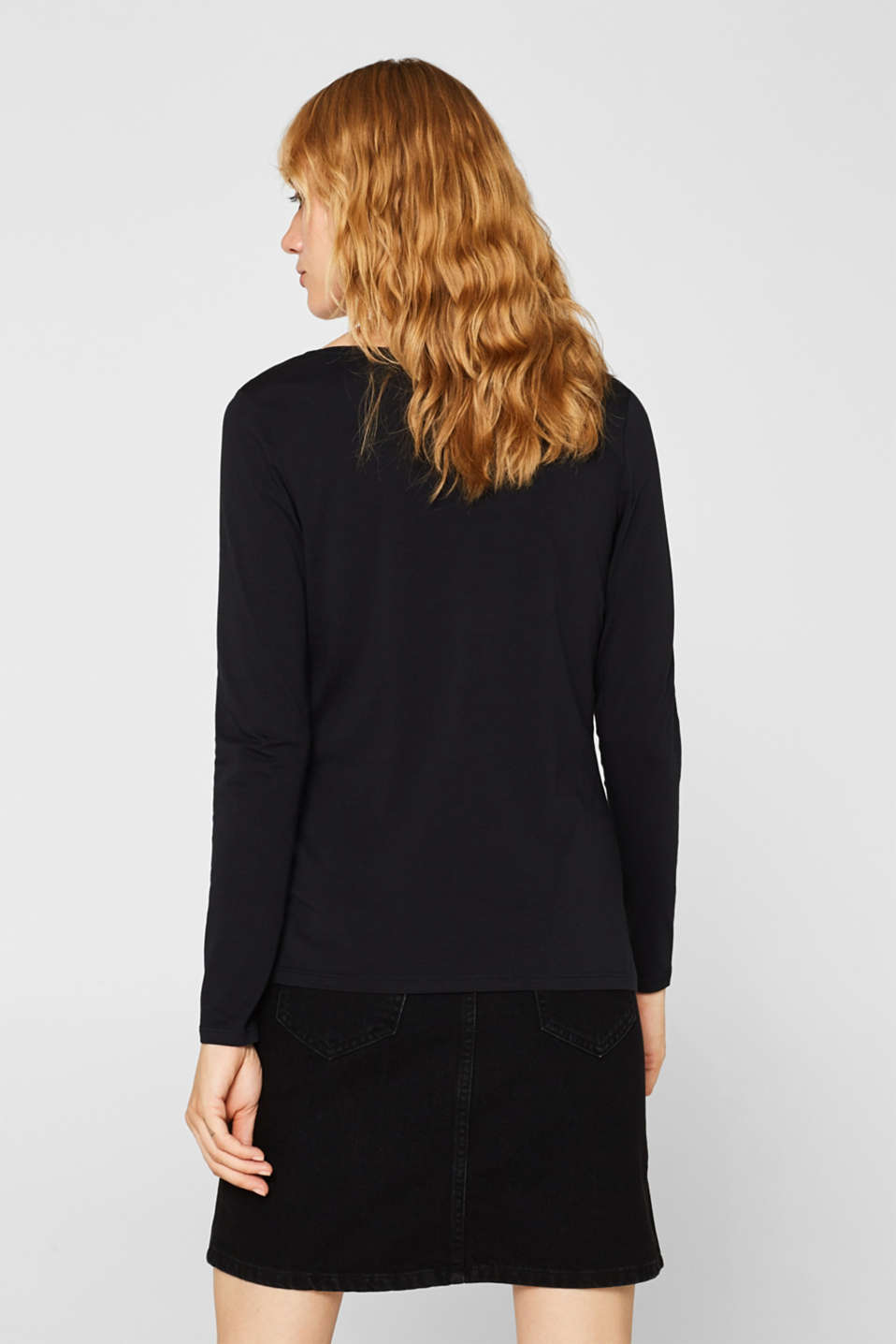 Stretch long sleeve top with organic cotton, BLACK, detail image number 3