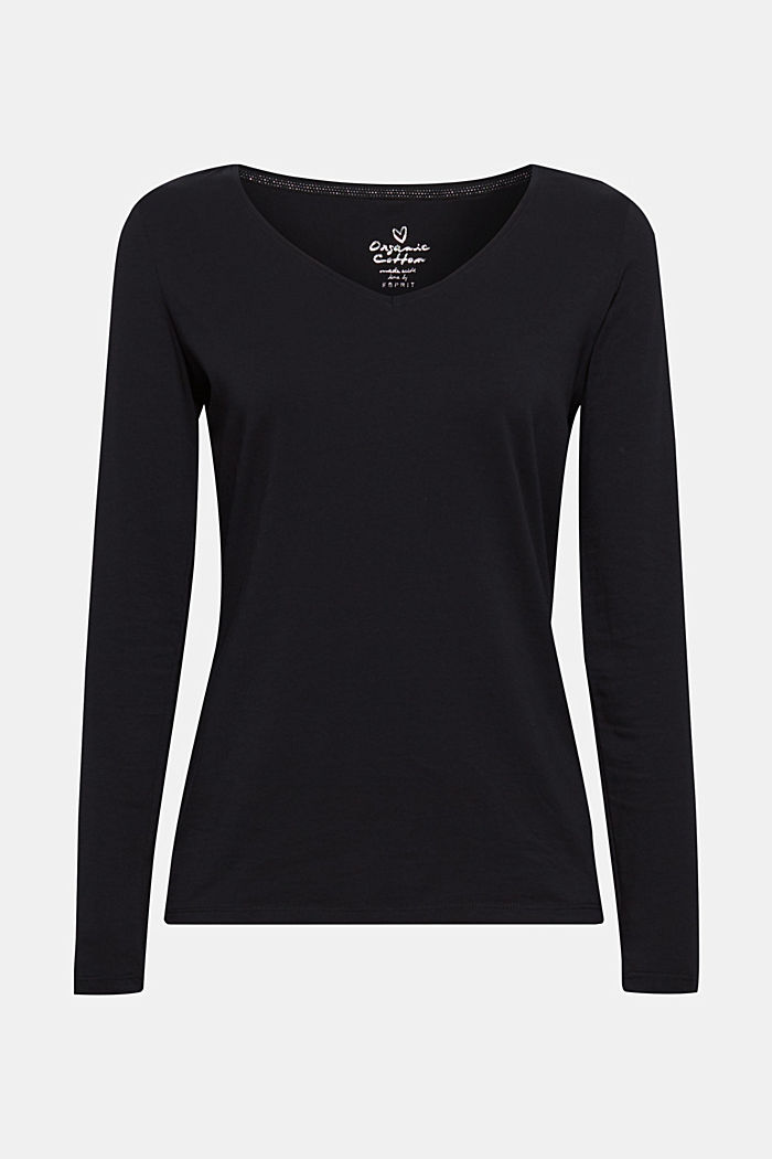 Stretch-Longsleeve mit Organic Cotton, BLACK, detail image number 0