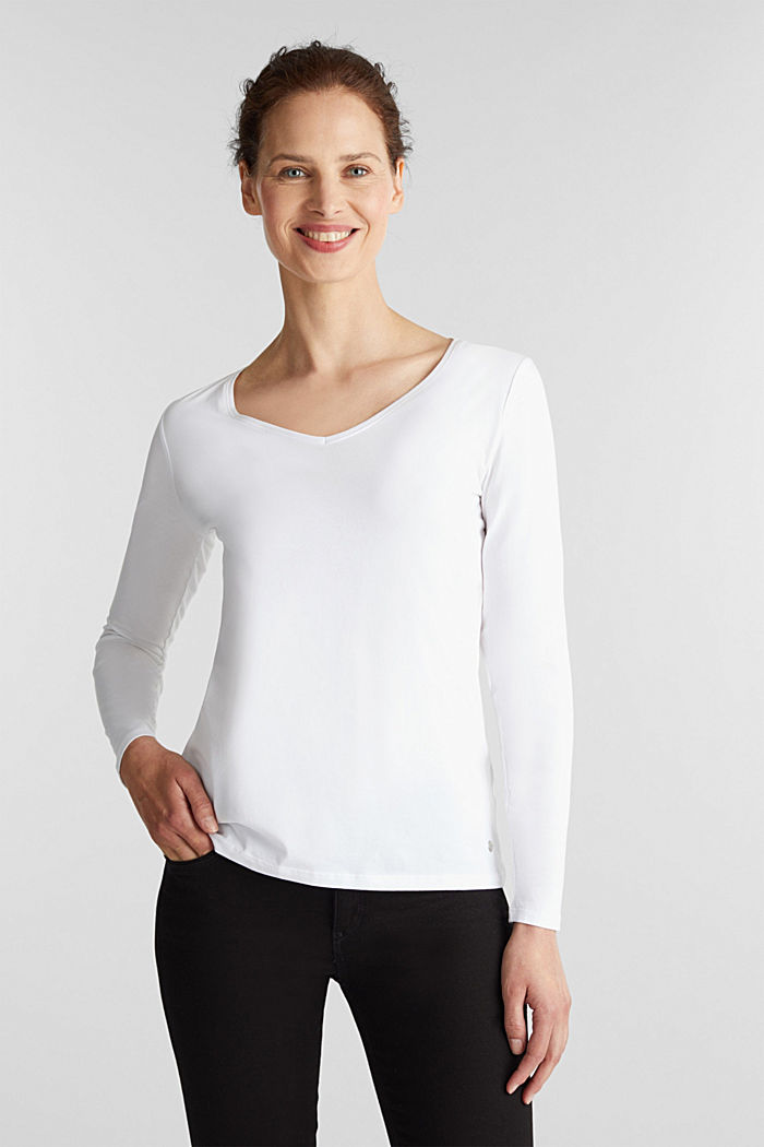 Stretch-Longsleeve mit Organic Cotton, WHITE, detail image number 0