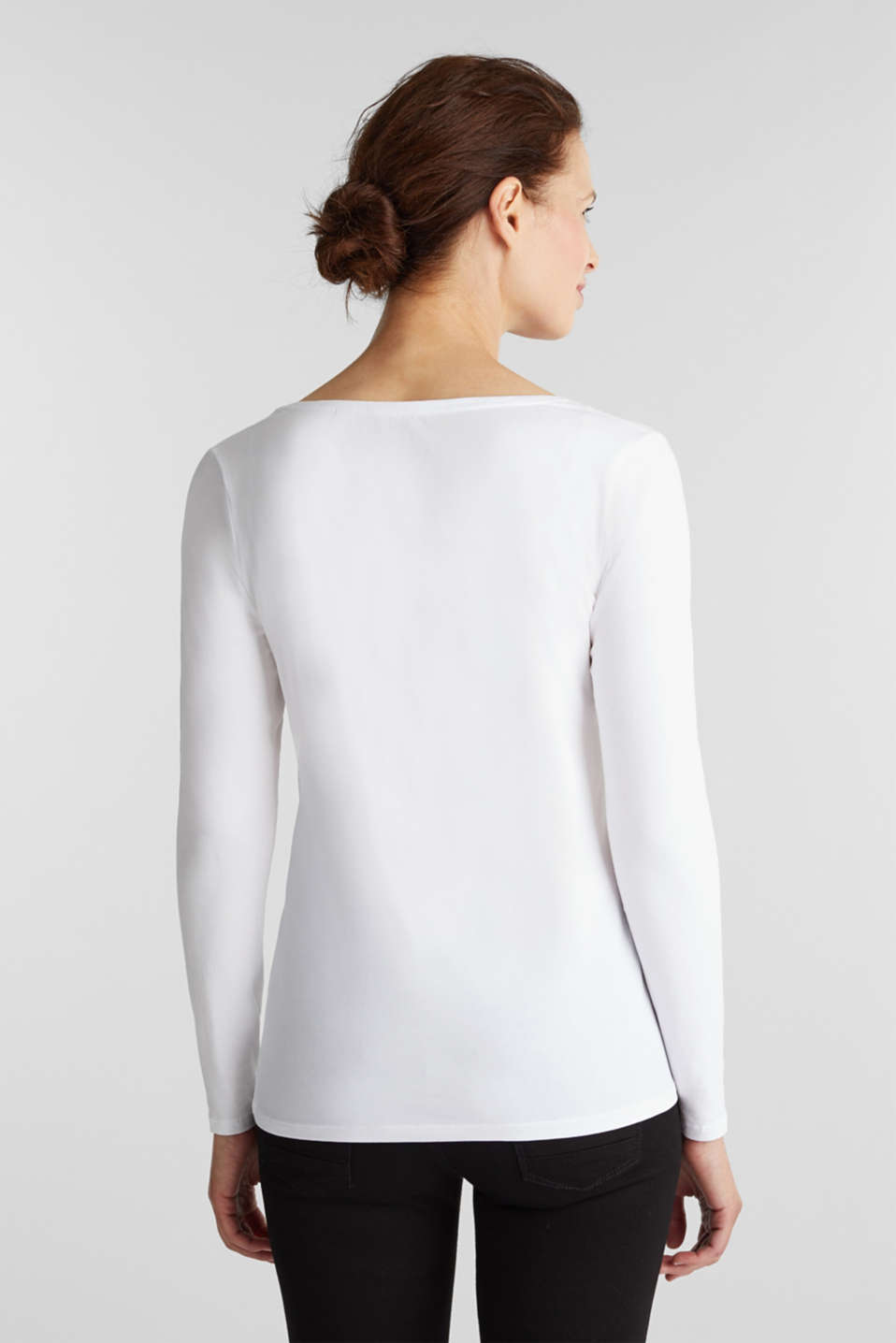 Stretch long sleeve top with organic cotton, WHITE, detail image number 3