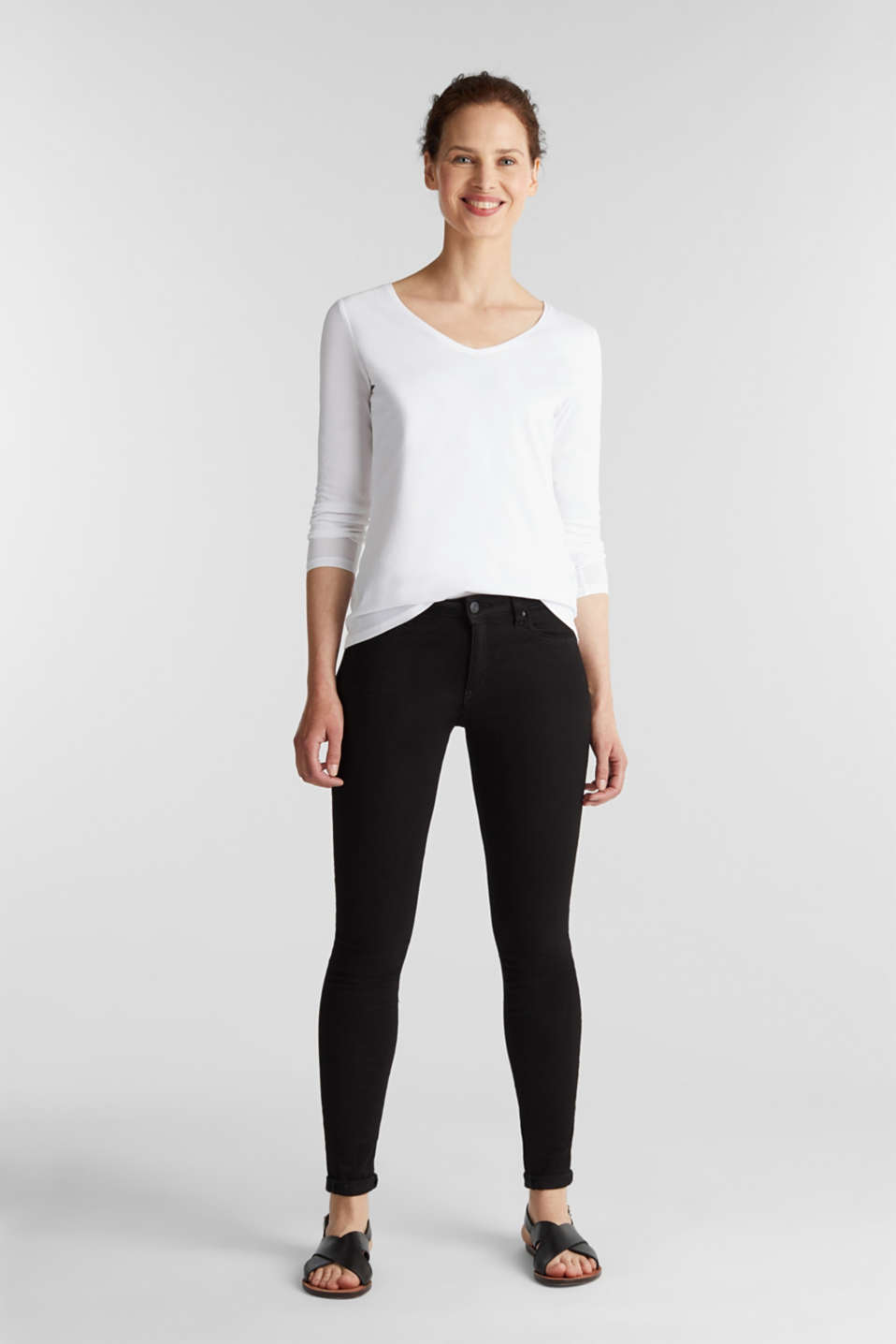 Stretch long sleeve top with organic cotton, WHITE, detail image number 1