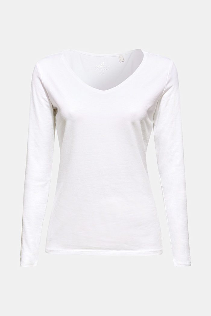 Stretch-Longsleeve mit Organic Cotton, WHITE, detail image number 5