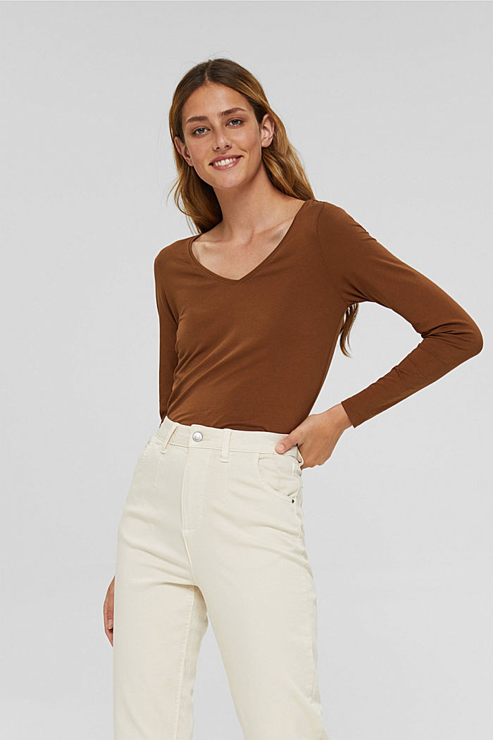 V-neck long sleeve top made of organic cotton with stretch, TOFFEE, detail image number 0
