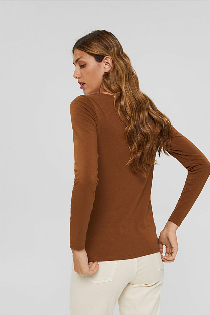V-neck long sleeve top made of organic cotton with stretch, TOFFEE, detail image number 3