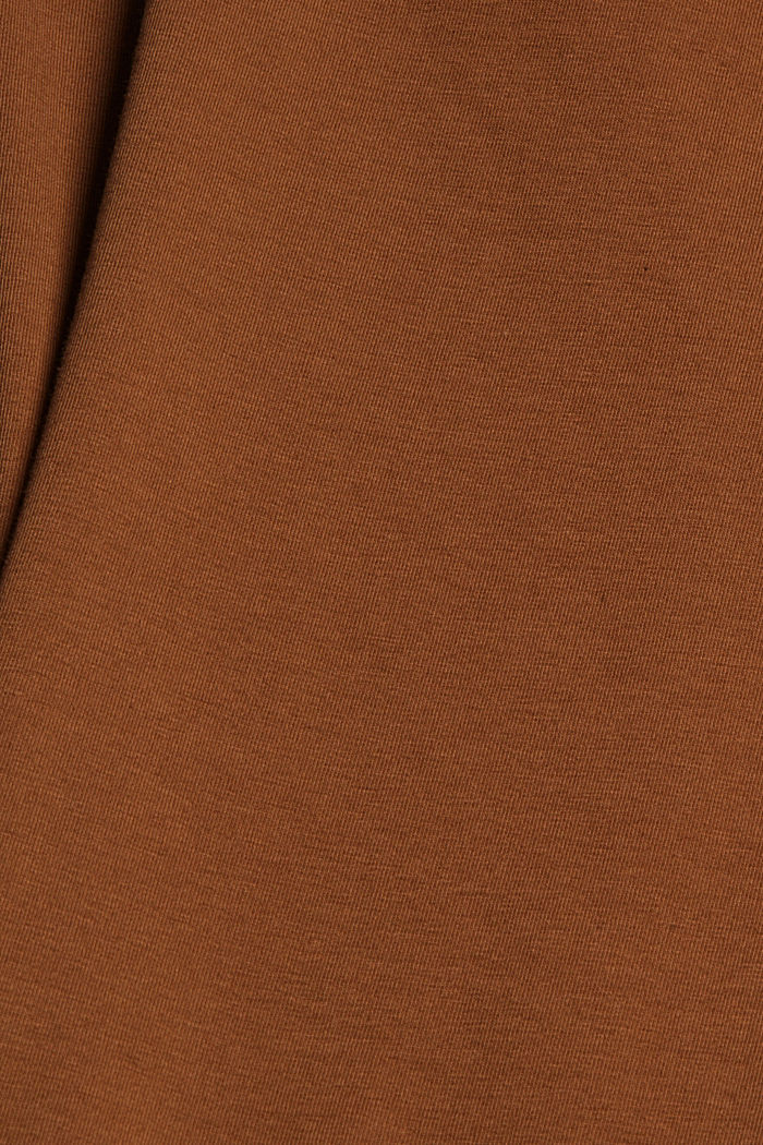 V-neck long sleeve top made of organic cotton with stretch, TOFFEE, detail image number 4