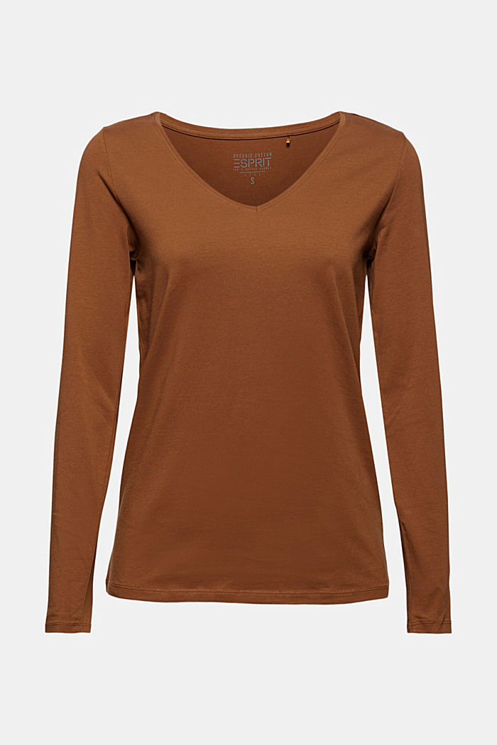 V-neck long sleeve top made of organic cotton with stretch, TOFFEE, detail image number 6