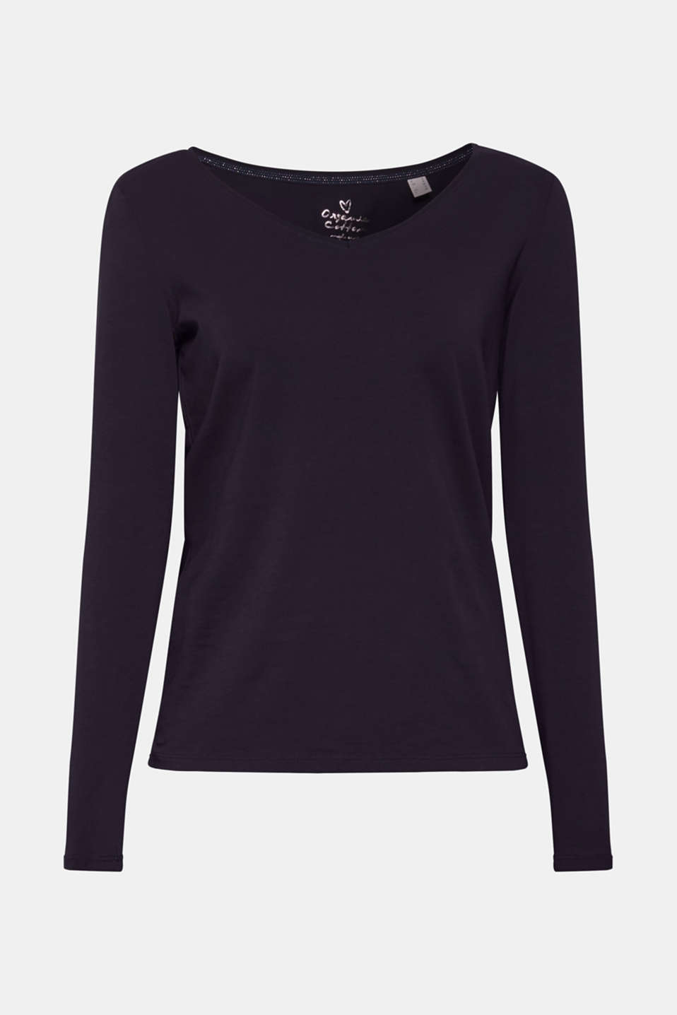 Stretch long sleeve top with organic cotton, NAVY, detail image number 6
