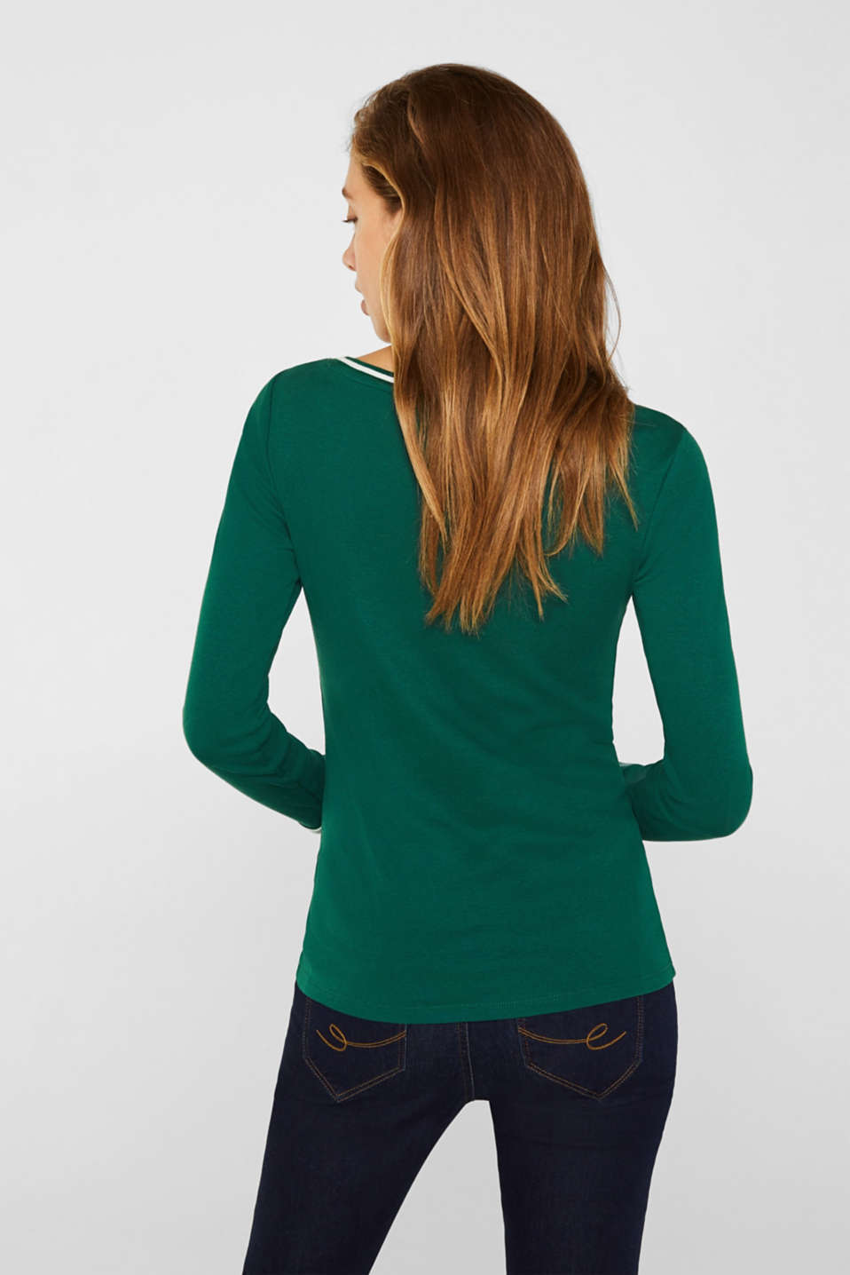 Long sleeve top with striped borders, 100% cotton, BOTTLE GREEN, detail image number 3