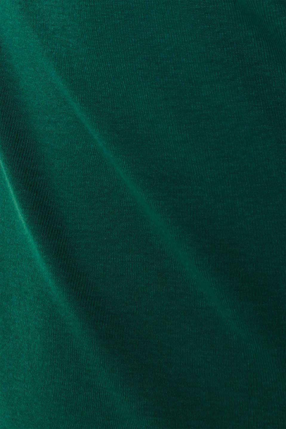 Long sleeve top with striped borders, 100% cotton, BOTTLE GREEN, detail image number 4