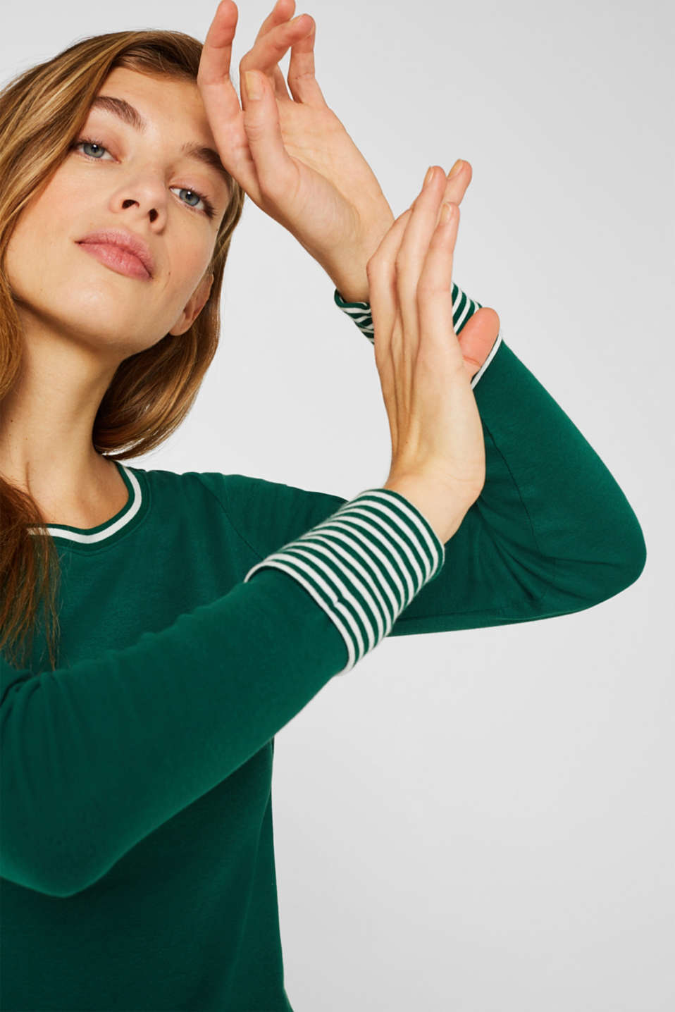 Long sleeve top with striped borders, 100% cotton, BOTTLE GREEN, detail image number 5