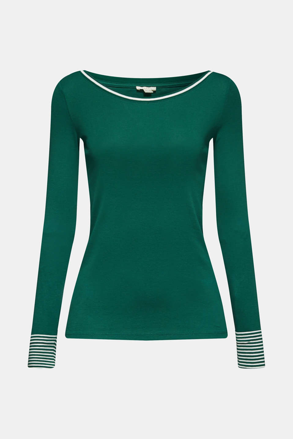 Long sleeve top with striped borders, 100% cotton, BOTTLE GREEN, detail image number 6