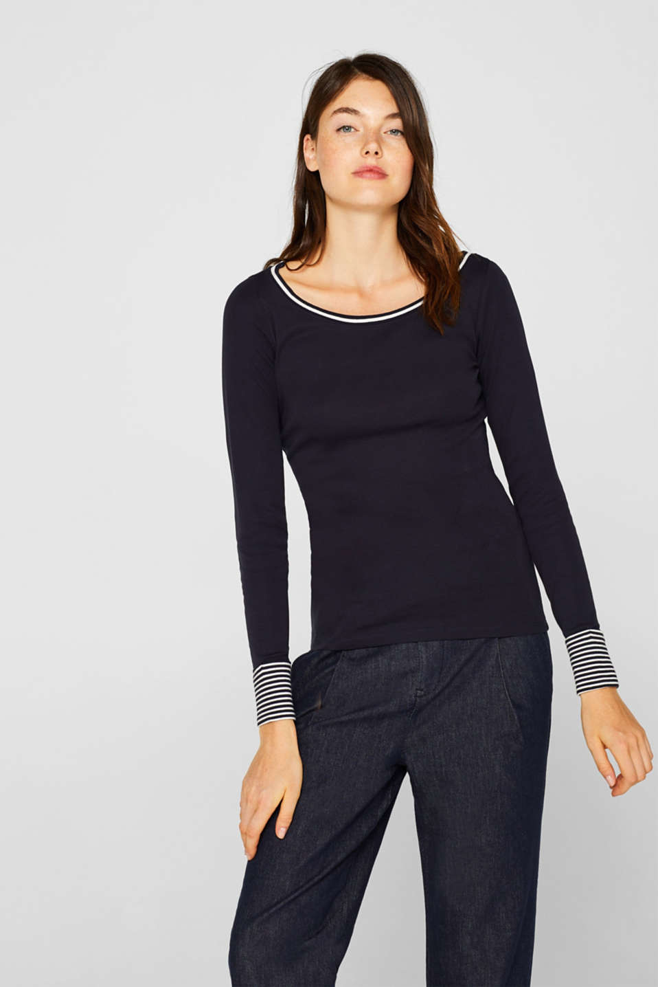 Esprit - Long sleeve top with striped borders, 100% cotton