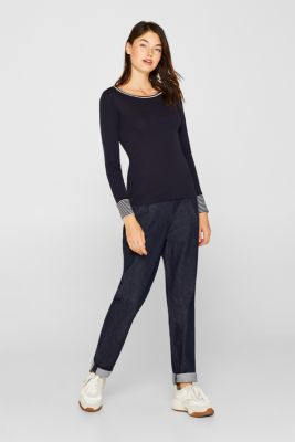 Long sleeve top made of 100% organic cotton, NAVY, detail