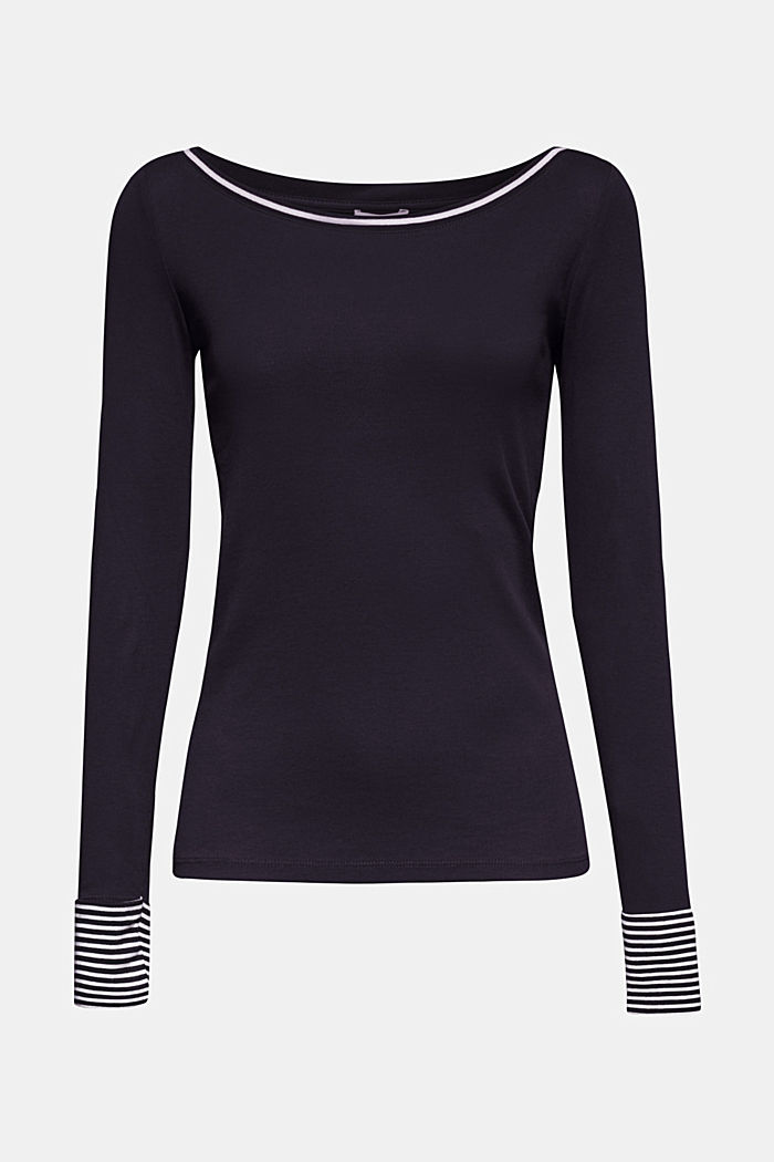 Long sleeve top made of 100% organic cotton, NAVY, detail image number 0